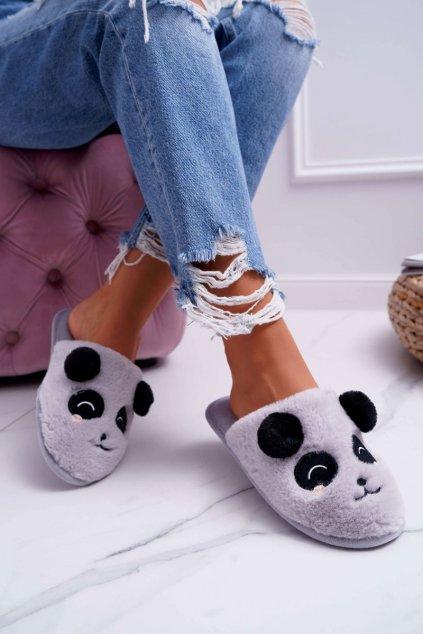 Dámske papuče s kožušinou Panda sivé Fimeo