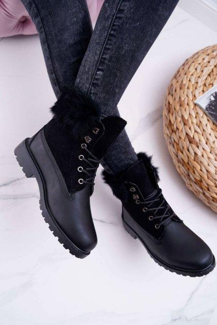 Dámske členkové topánky s kožušinou čierne Fender