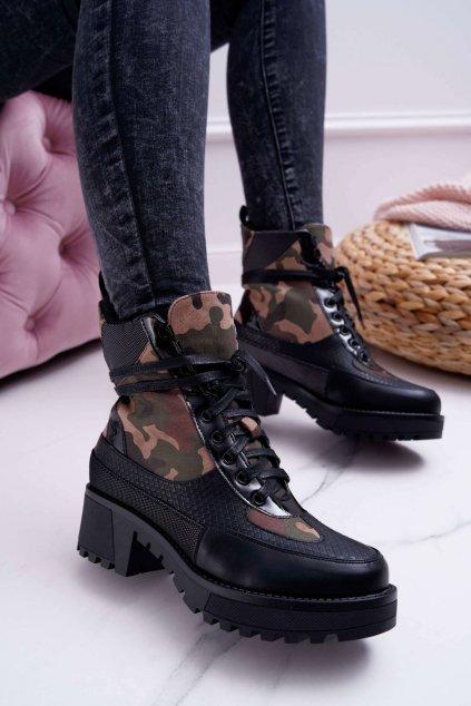 Dámske členkové topánky čierne Camo Nemtere