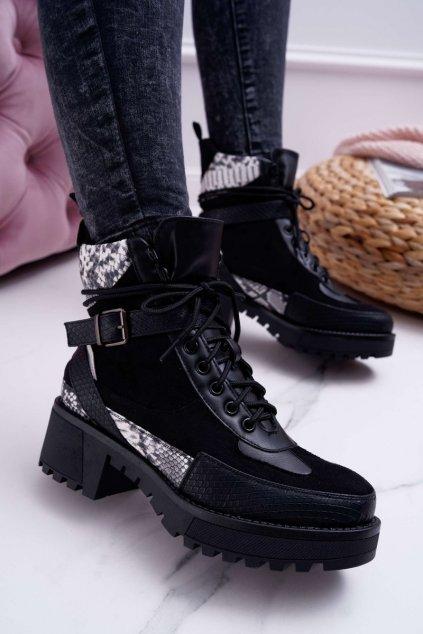 Dámske členkové topánky hadia vzor čierne Nemtere