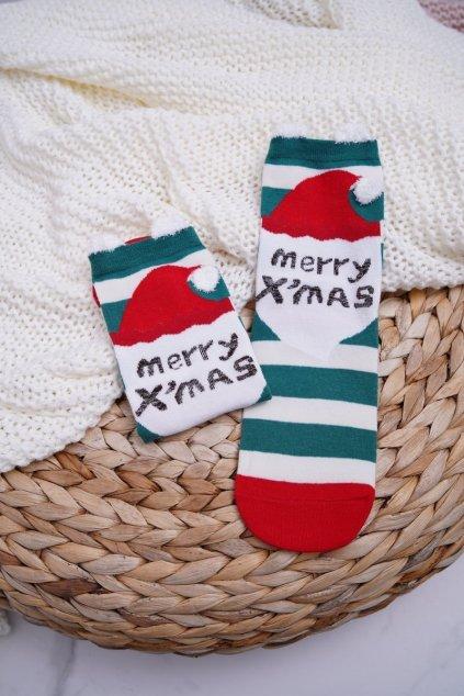 Dámske ponožky vianočné s ušami pruhované Merry X'mas