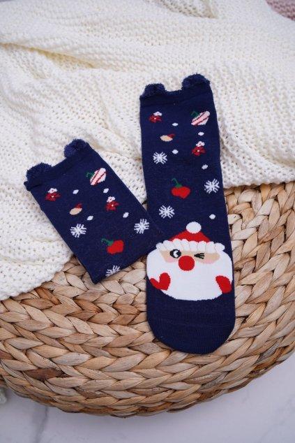 Dámske Ponožky vianočné tmavo modré s Ušima Ježíšek