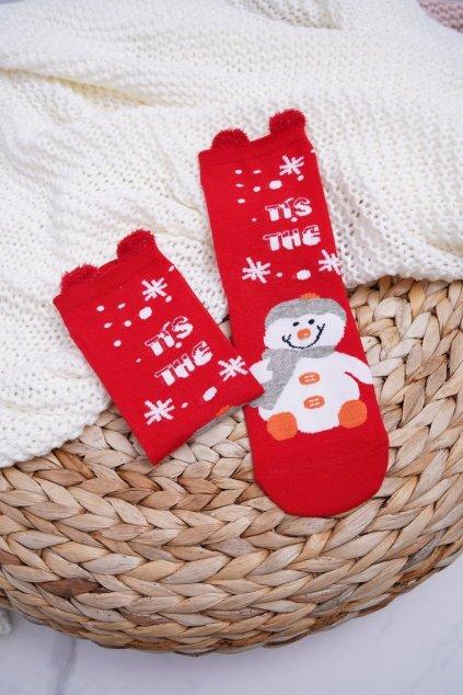 Dámske ponožky vianočné červené s ušami Snehuliak