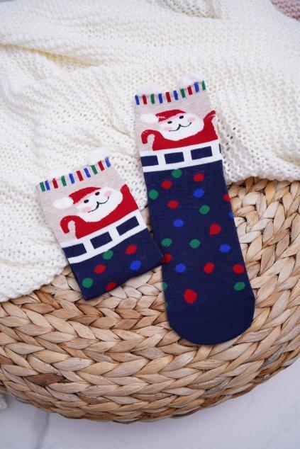 Dámske ponožky s ušami vianočné bodkované