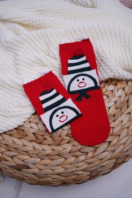 Dámske ponožky s ušami vianočné snehuliak