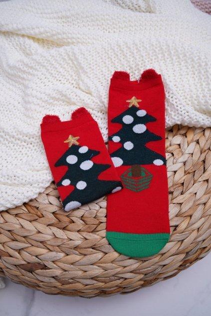 Dámske ponožky farba červená kód DM-500 CHRISTMAS TREE