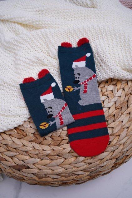 Dámske Ponožky vianočné s Ušima Medved