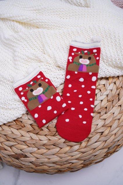 Dámske ponožky farba červená kód DM-500 DOTS REINDEER