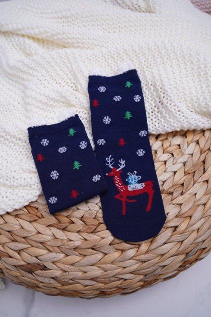 Dámske Ponožky vianočné tmavo modré s Ušima Sobi