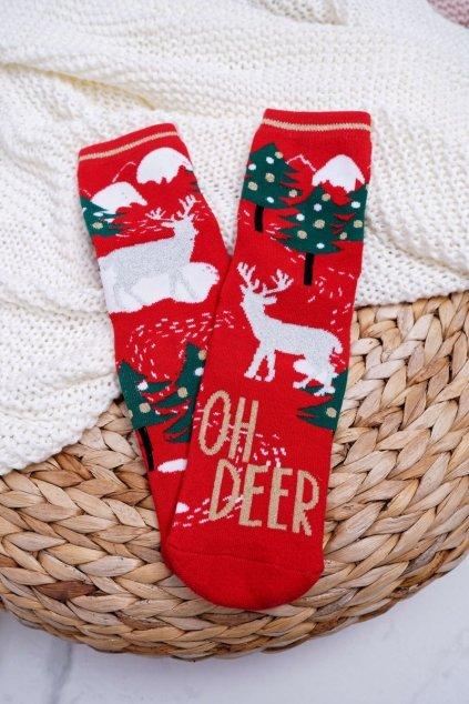 Dámske Ponožky vianočné protiskluzové Červené OH DEER