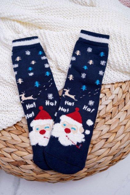 Dámske Ponožky vianočné protiskluzové tmavo modré Ježíšek
