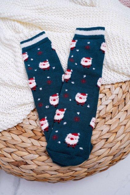 Dámske Ponožky vianočné protiskluzové Zelené s Ježíšek