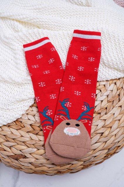 Dámske Ponožky vianočné protiskluzové Červené se Sobem