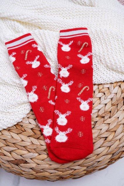 Dámske Ponožky vianočné protiskluzové Teplé Červené se Soby