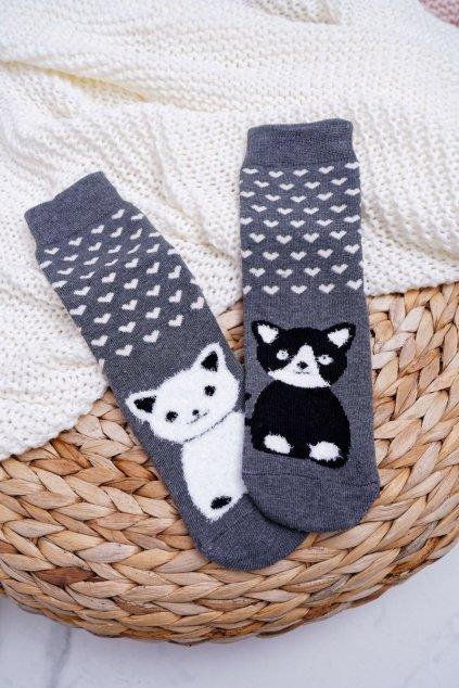 Dámske Ponožky protiskluzovéý Teplé sivé s Kočkou