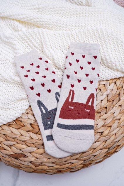 Dámske Ponožky protiskluzové Teplé sivé Se sladkýma kočkama