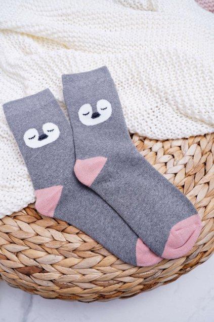 Dámske ponožky hrejivé sivé s tučniakom