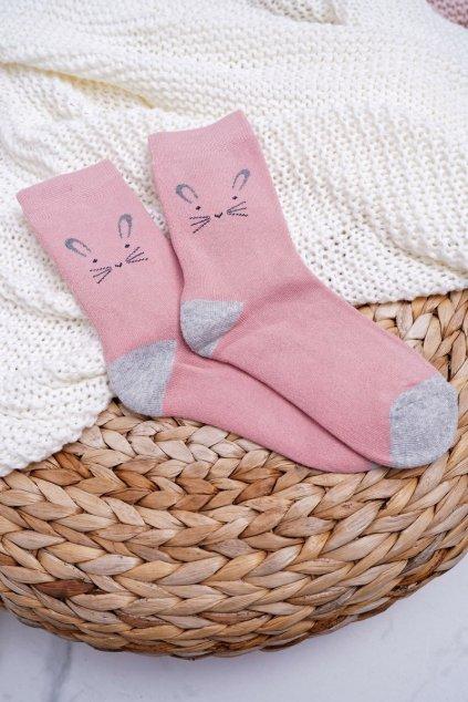Dámske ružové ponožky hrejivé s králikom