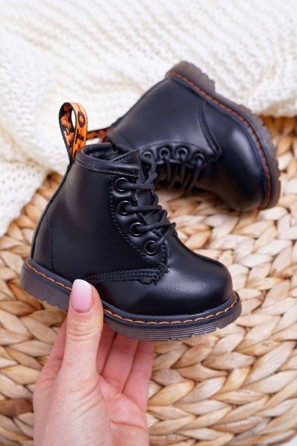 Detské členkové topánky farba čierna kód obuvi 20321-1A/2A BLK