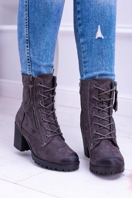 Dámske šnerovací sivé členkové topánky Gaja 191A GREY