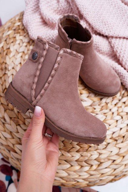 Detské členkové topánky Khaki Sicarro KID065 KHAKI
