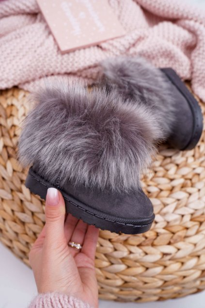 Detské členkové zimní topánky s kožušinou sivé Small Fox 20203-1C/2C GREY
