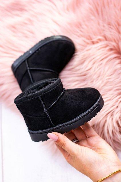 Detské čierne snehule semišové topánky Gooby 20213-1A/2A BLK