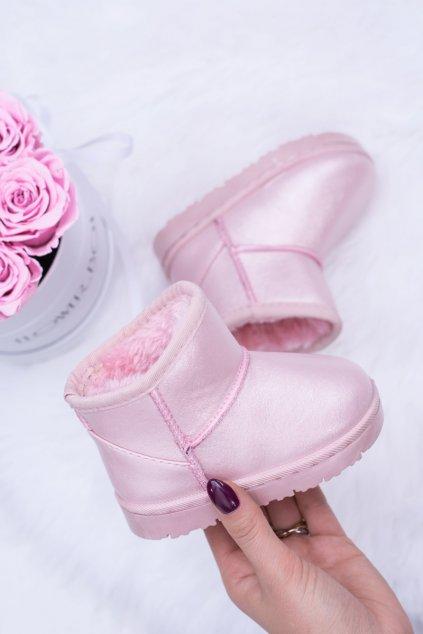 Teplé detské snehové topánky s kožušinou ružové Scooby 20220C PINK