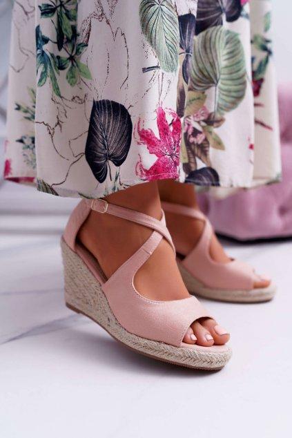 Dámske sandále na kline ružové Margus FM9005