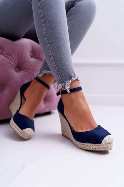 Dámske sandále na kline tmavo modré Tammaris OM813 NAVY