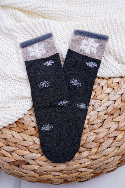 Dámske Ponožky Teplé Tmavé sivé se Snehovou vločkou