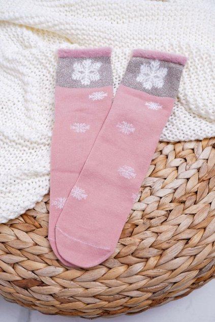 Dámske Ponožky Teplé ružové se snehovou vločkou