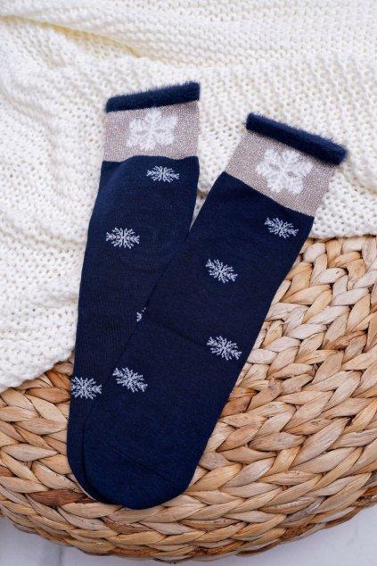 Dámske Ponožky Teplé tmavo modré se snehovou vločkou