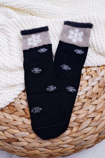 Dámske Ponožky Teplé čierne se snehovou vločkou