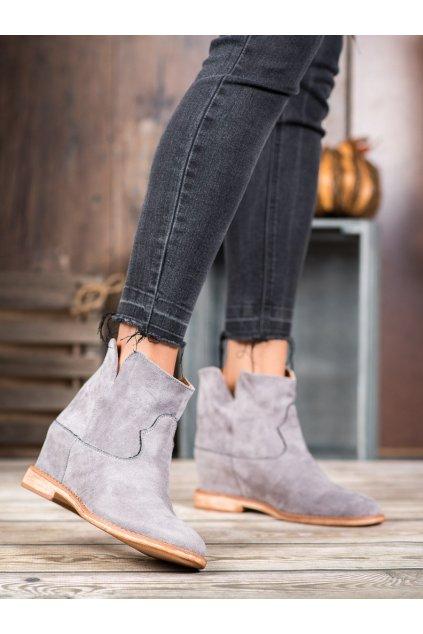 Sivé dámske topánky na platforme Bella paris kod A3708G