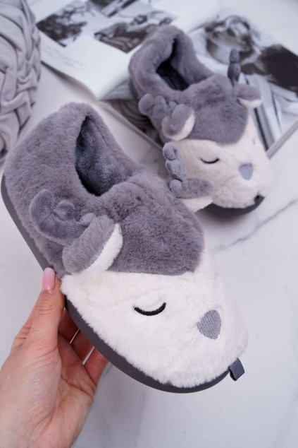 Dámske papuče s kožušinou sob sivé Reindeer