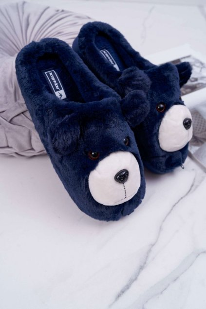 Dámske papuče s kožušinou medved tmavo modre Bear
