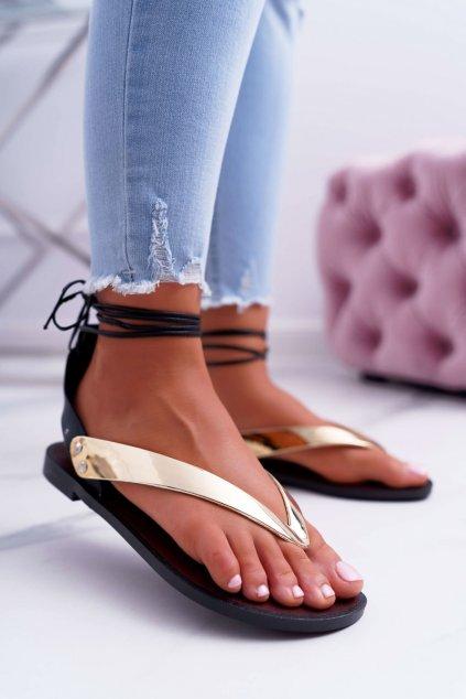Lu Boo zlaté vázané japonské Sandále Florence