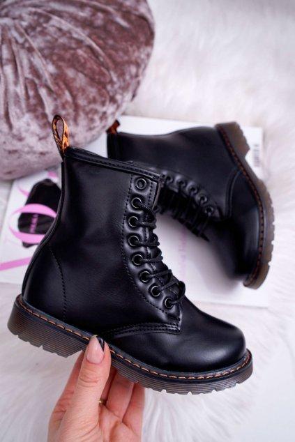 Detské topánky zateplené so zipsom Lakované čierne Goopy