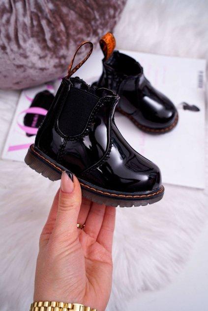 Detské členkové topánky farba čierna kód obuvi 20324-1B/2B BLK