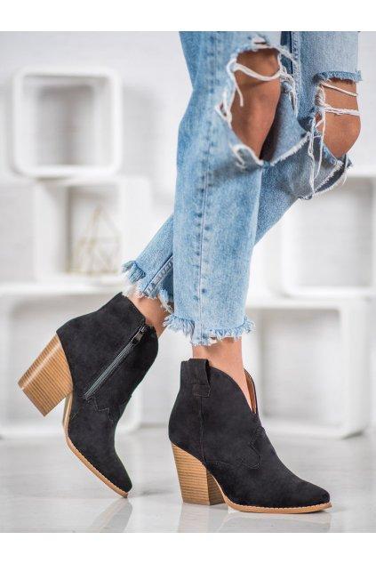 Čierne dámske topánky na hrubom podpätku Bella paris kod A5607B