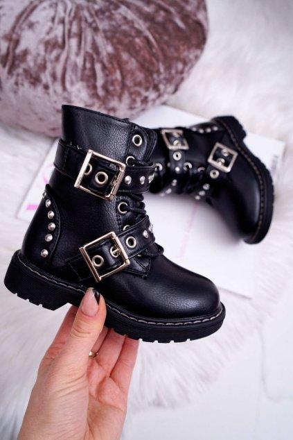 Detské topánky zateplené so zipsom čierne SmallRock