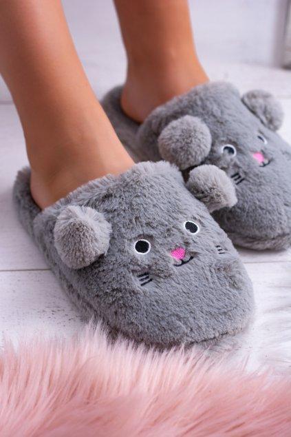 Dámske papuče SOXO sivé myšky s ušami 14457 GREY