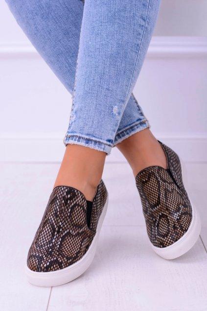 Hnedé vsuvky Sneakers Slip na Snake Skin 73119 SNAKE BR