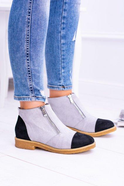 Lu Boo sivé semišové Dámske topánky s posuvníky Inez XW37275 GREY