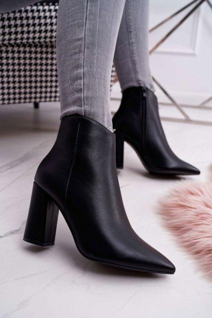 Dámske členkové topánky na podpätku čierne Felino
