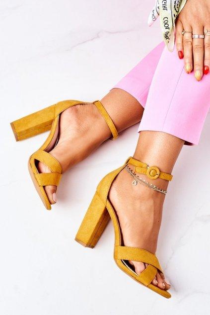 Dámske sandále na podpätku farba žltá kód obuvi TU133 YELLOW