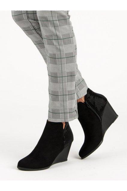 Elegantné semišové topánky čierne C6531NE