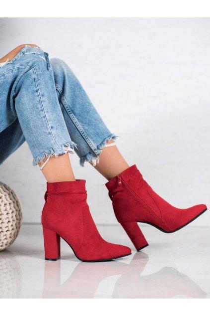 Červené dámske topánky na hrubom podpätku Ideal shoes kod TX-1813R
