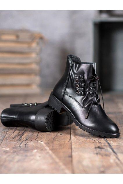 Čierne dámske topánky na hrubom podpätku Groto gogo kod G-159B